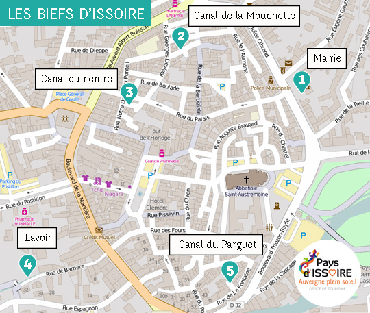 5 steps to discover biefs (canals) of Issoire