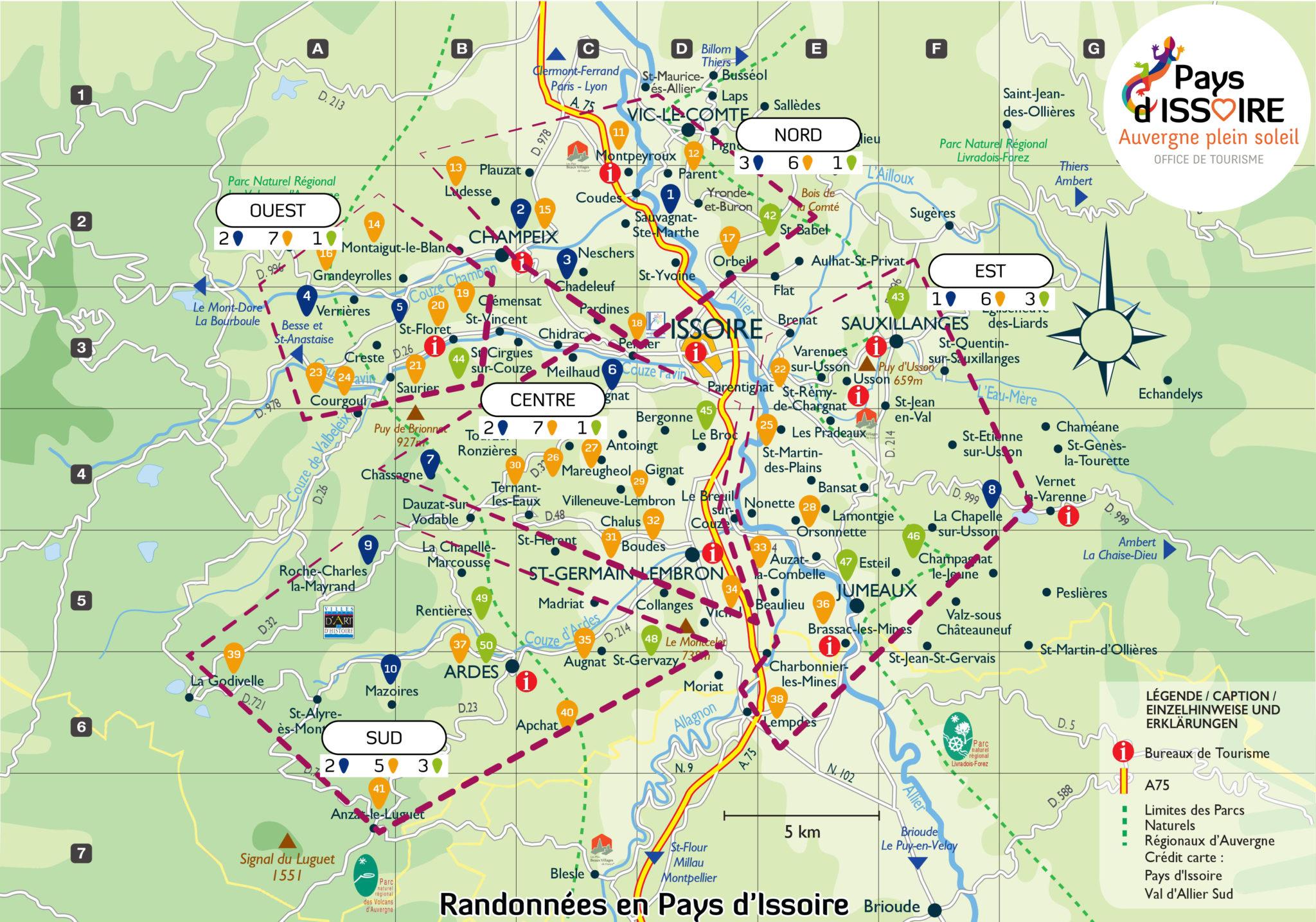 Carte rando secteurs office de tourisme du pays d 39 issoire - Office du tourisme de l auvergne ...