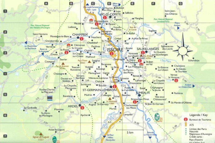 carte touristique du Pays d'Issoire