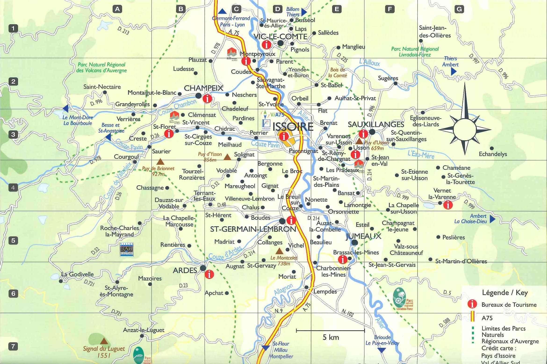 Carte pays issoire office de tourisme du pays d 39 issoire - Office de tourisme cournon d auvergne ...