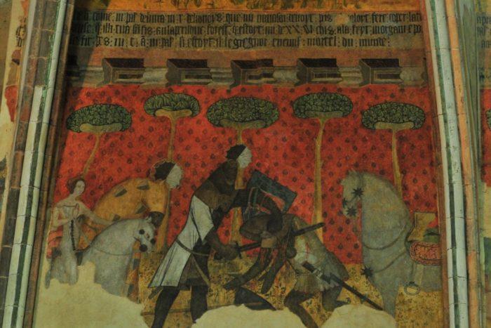 Peinture murale dans le château de Saint-Floret , prés d'Issoire, Puy-de-Dôme, Auvergne