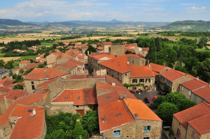 Panorama depuis le donjon de Montpeyroux , Puy-de-dôme, Auvergne