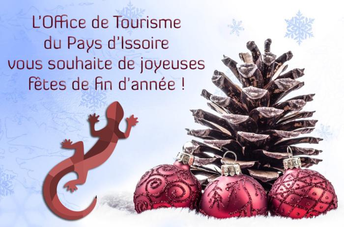 L'Office de Tourisme du Pays d'Issoire vous souhaite de joyeuses fêtes de fin d'année !