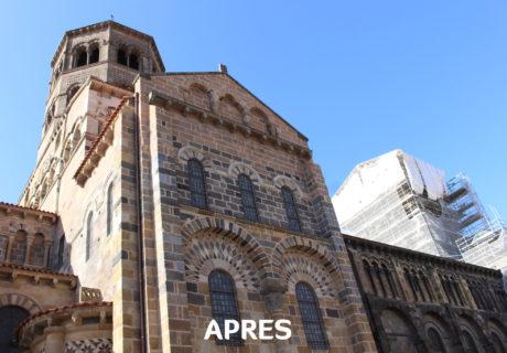 Travaux à l'abbatiale Saint Austremoine : façade Nord près 2017