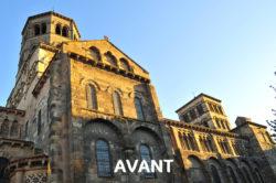 Travaux à l'abbatiale Saint Austremoine : restauration façade Nord davant 2017