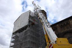 Travaux à l'abbatiale Saint-Austremoine : Échafaudage sur la façade Nord- 2017