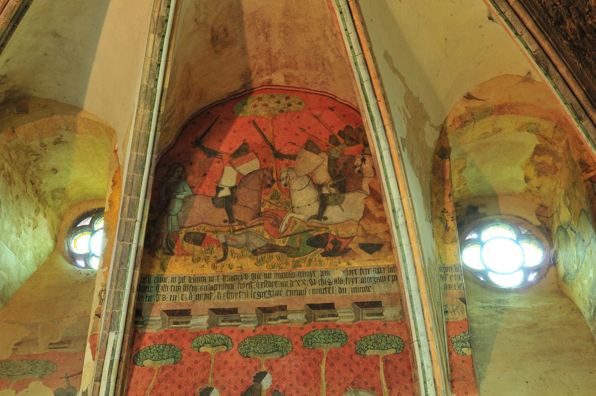 Fresque de Tristan et Iseult, château de Saint-Floret
