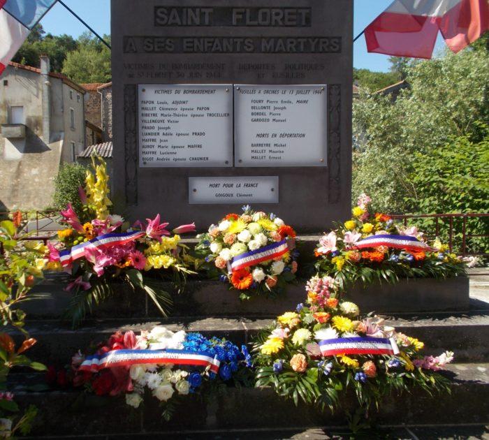 Commémoration du Bombardement de Saint-Floret en 2018