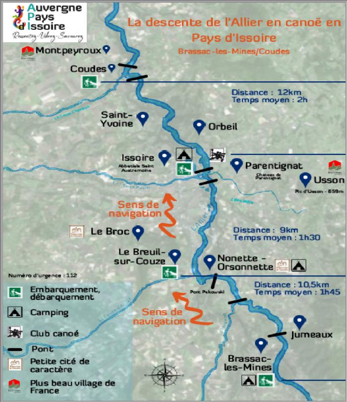 Carte descente de l'Allier en Pays d'Issoire en canoë